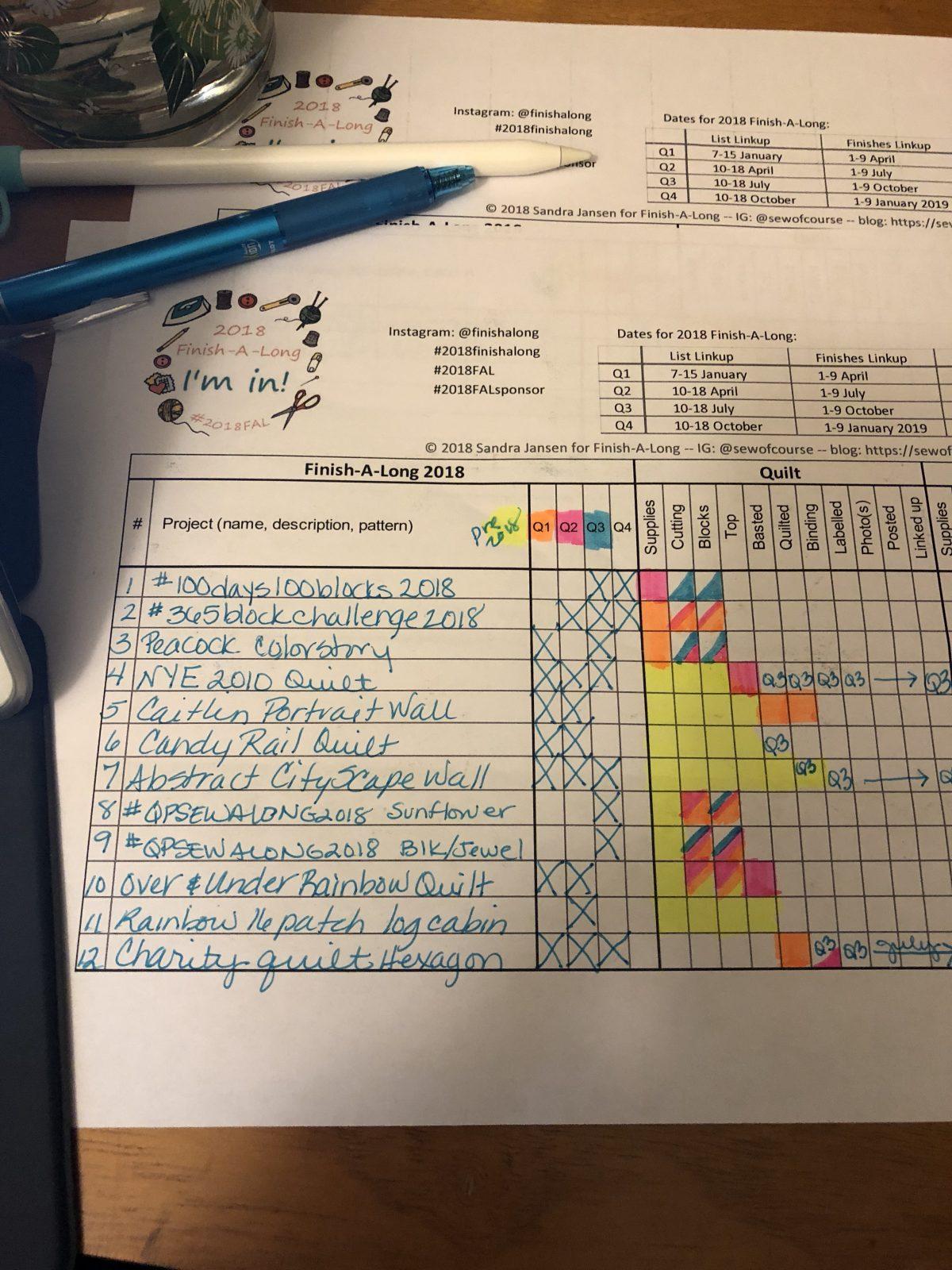 Quilt Diary:  #Finishalong2018 Quarter 3 Goals