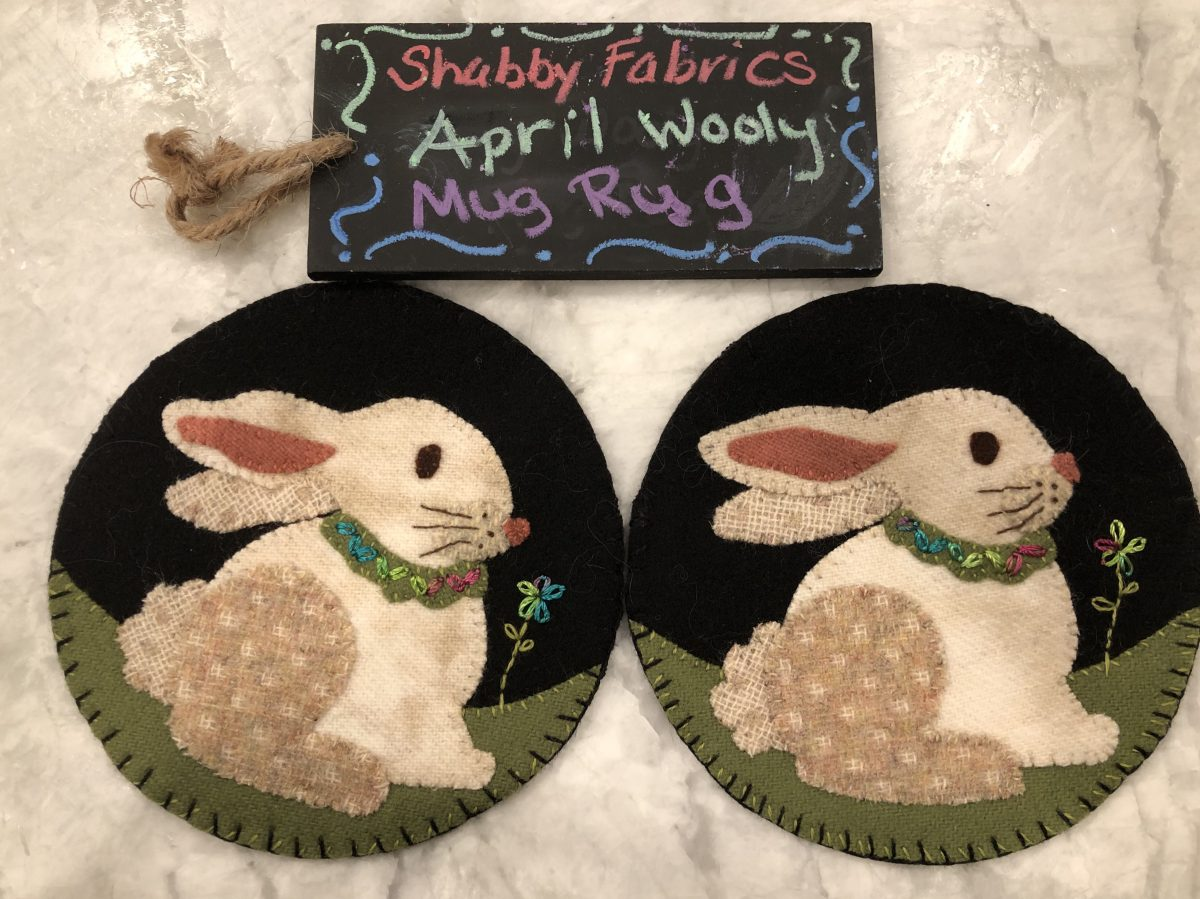 Quilt Diary:  Bunny Wooly Mug Rugs finish!